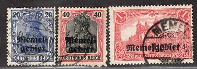MEMEL GERMANY 1920 STAMP Mi. # 4, 6 AND 9 USED