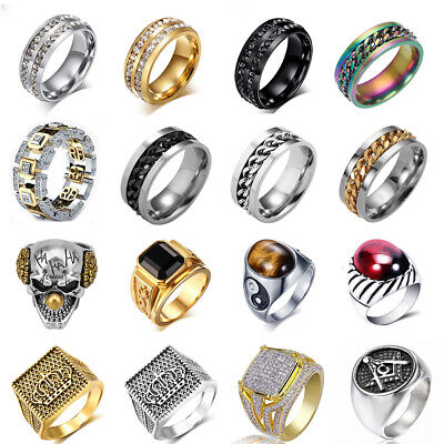 Mens Silver Gold Stainless Steel Ring Gothic Punk Masonic Biker Rings Jewelry