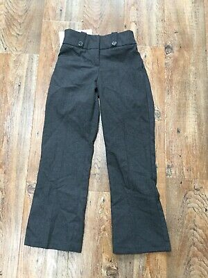 BNWT Girls Grey Bootcut School Trousers Stain Repellant Teflon Coated 7-8 Yrs