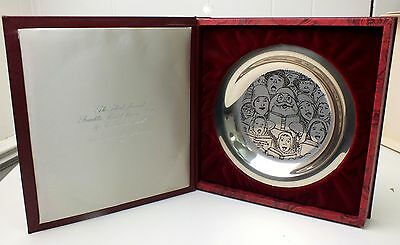 """Norman Rockwell Plate Solid Sterling Silver The Carolers 1972 Christmas Santa 8"""""""