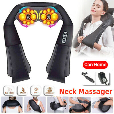 Electric Shiatsu Kneading Neck Shoulder Body Massager With Heat Health Care AU