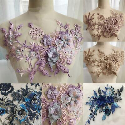 3D Flower Embroidery Bridal Lace Applique Pearl Beaded Tulle Wedding Dress DIY