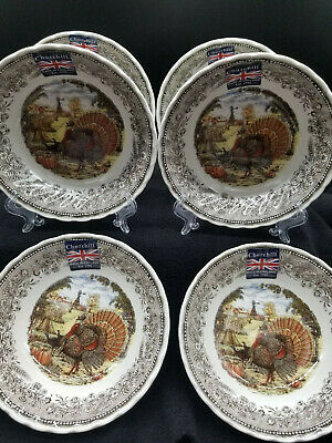 Royal Wessex by Churchill Turkey Thanksgiving Cereal/Fruit/Dessert Bowls Set/6