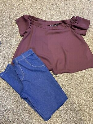 Girls Aged 9 Outfit. Leggings And Newlook Top.