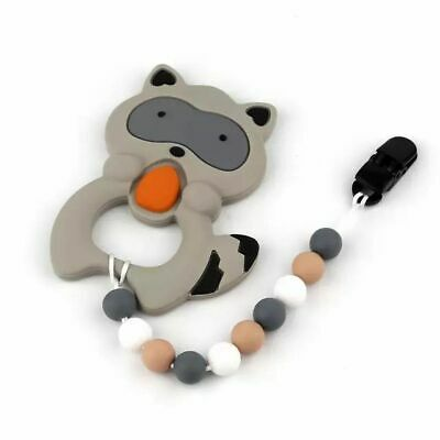 Raccoon Baby Teether Silicone Pacifier Chain Soother Chewable Teething Toy