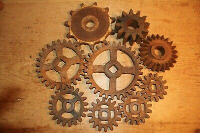 Reclaimed Cast Iron Cogs/Gears~Antique~Vintage~Steampunk~Job Lot of 9~
