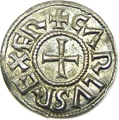 840 - 877 Viking Danegeld Silver Denier of Charles II Melle Mint Monogram Type