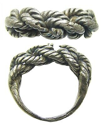10th - 12th century AD Scandinavian Viking Braided Silver Finger Ring Size 6 3/4