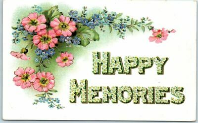"Vintage 1910s LARGE LETTER Greetings Embossed Postcard ""HAPPY MEMORIES"" UNUSED"