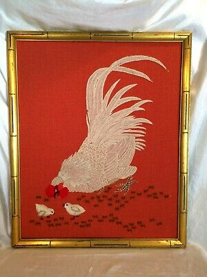 "Rooster w Chicks 1970's Crewel Stitchery Picture 18"" x 22""  Bamboo Frame ExVtgCd"