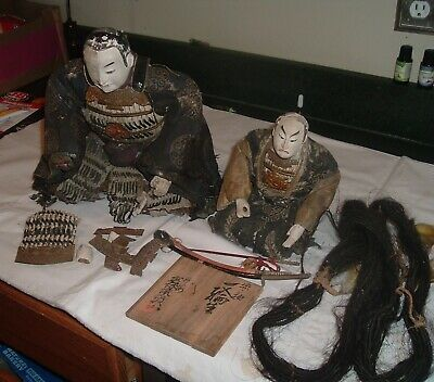 Antique VERY OLD Early 1800s ,2 Samurai Dolls w/ Armour & Swords RARE but Rough