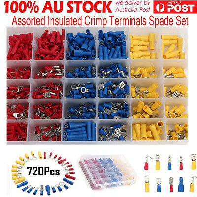 720x Electrical Wire Connector Assorted Insulated Crimp Terminals Spade Kit DH