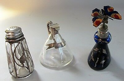 Fine ART NOUVEAU Silver Overlay Miniature Assorted Glass Pieces  c. 1900