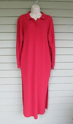 Vintage Victoria's Secret Womens Thermal Red Cotton Long Sleep Shirt Nightgown M