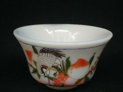 Collected China Old Coloured Glaze Painting Crane Peach Water Washing Cup Bowl