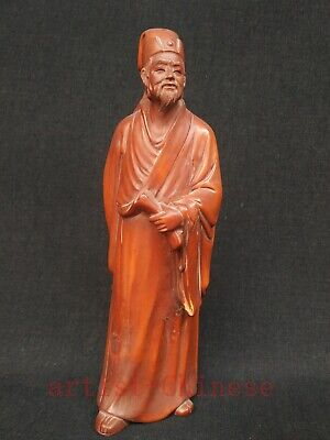 Collected Ancient China Boxwood Manual Sculpture China Saint kongming Decoration