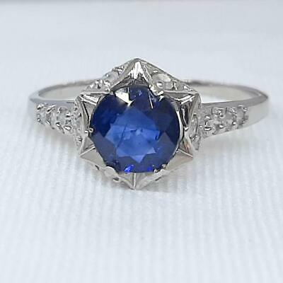 Genuine 1.23ctw Blue Sapphire & SI Diamond Solid 14K White Gold Ring Size 7 1.9g