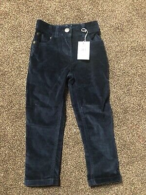 Mini Boden Navy Velour Trousers With Sequin Pockets 3yrs