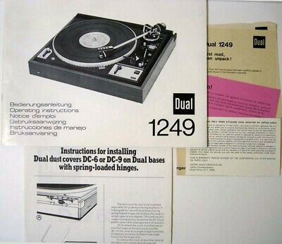 Dual ® 1249 Turntable Operating Instructions Manual - With Mounting Instructions