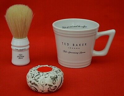 Ted Baker: Grooming Room - Ceramic Shaving Cup, Brush & Soap Set - Unboxed!