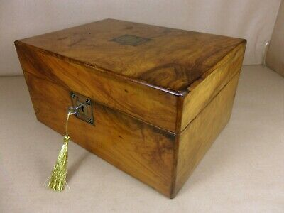 ANTIQUE VICTORIAN  BURR WALNUT JEWELLERY/SEWING  BOX.C1850-1870 (Code 531)