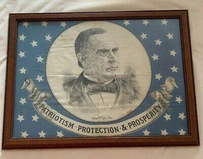 William Mckinley Campaign Flag Bandana Political Handkerchief 1896 1900 Banner
