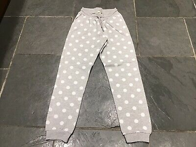 Girl's Grey Polka Dot H&M Joggers, Age 9-10 Years, Exc Con