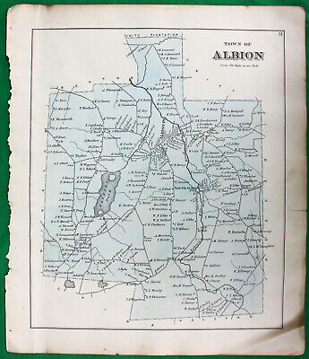 Original 1879 Caldwell & Halfpenny Maine Kennebec County Albion Map