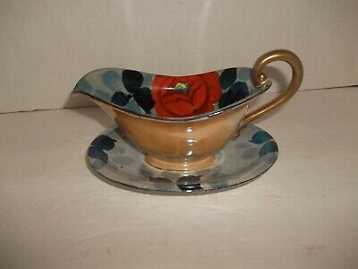 Vintage Japan Hp Tt Takito  Luster Lusterware Gravy Boat & Underplate Art Deco