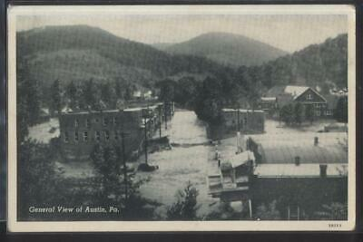 Postcard AUSTIN Pennsylvania/PA  Early 1900's Local Area Town Aerial view 1930's