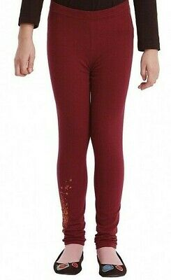 DESIGUAL Burgandy Leggings w/ Copper Floral Heart - NWT Girls M (5/6-7/8)