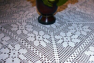 """Vintage Crocheted Tablecloth - 40"""" - Perfect!!"""