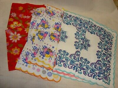 Lot of 9 NEW 1960s Vintage Ladies or Girls Handkerchiefs, Floral Linen Beautiful