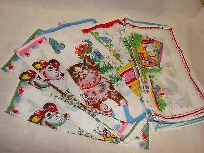 Lot of 18 NEW 1960s Cute Vintage Ladies or Girls Handkerchiefs, Floral Linen
