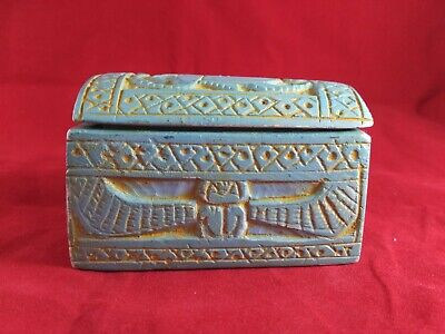 RARE ANTIQUE ANCIENT EGYPTIAN Coffin contains 4 Canopic Jars 1820 Bc