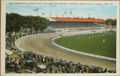 York, PA 1920s Postcard: Race Track on Fair Ground - Pennsylvania Penn