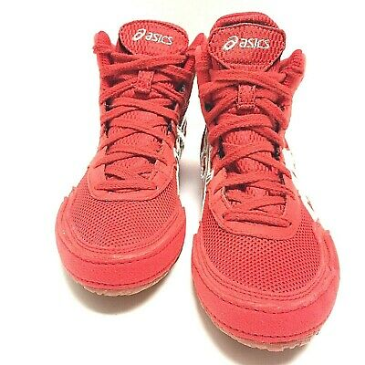 Asics Mens Matflex Red Silver Athletic Wrestling Boxing Shoes C129N Size 6 Us