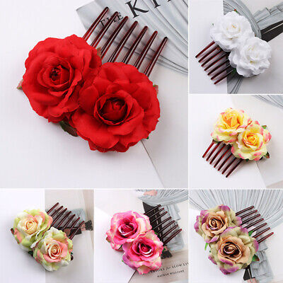 Women's Flower Hair Comb Slide Clips Pins Cloth Wedding Bridal Hair Accessories