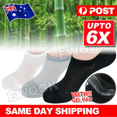 UP 6Pairs NO SHOW BAMBOO SOCKS Non Slip Heel Grip Low Cut Invisible Footlet Bulk