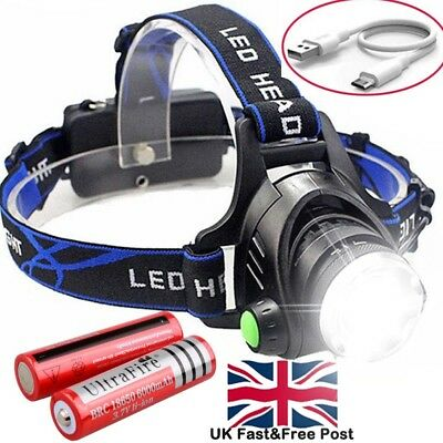 Rechargeable Tactical 350000LM T6 LED Headlamp 18650 Headlight Head Torch Light.