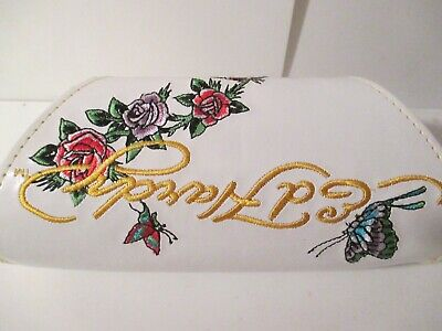 Ed Hardy Rose Butterfly Tattoo White Sunglass Eyeglasses Large Case