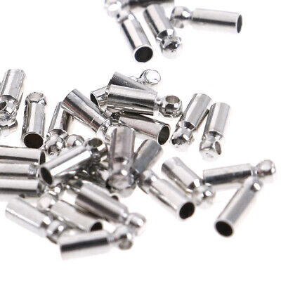 100xSilver Plated Barrel Bead Leather Cord ends caps Jewelry findings 6x2mm FG