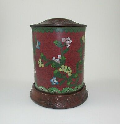 19th Century Chinese Cloisonne Tea Caddy Hand Carved Wood Lid & Base Signed