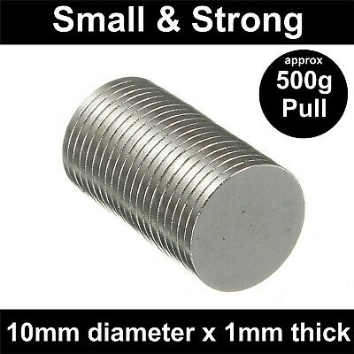 Super Strong Neodymium Magnets (10mm x 1mm) N40 Thin Small Powerful Disc 0.5Kg