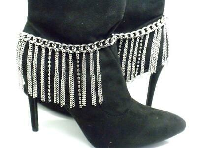 """Boot Chain Straps Silver Tone Pair Anklet New 12"""" -15"""""""