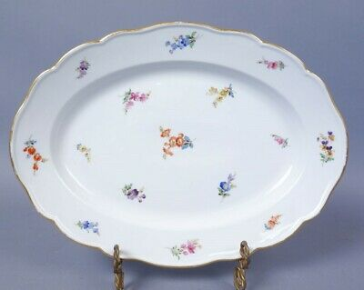 Antique Germany Meissen Hand Painted Scattered Flowers Porcelain Oval Platter