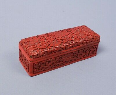 Antique At Least Early 20c Carved Asian Cinnabar Lacquer Stamp Box