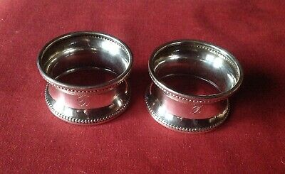 ANTIQUE STERLING SILVER NAPKIN RINGS X 2 CHESTER 1925 WILLIAM VALE & SONS 21.5g