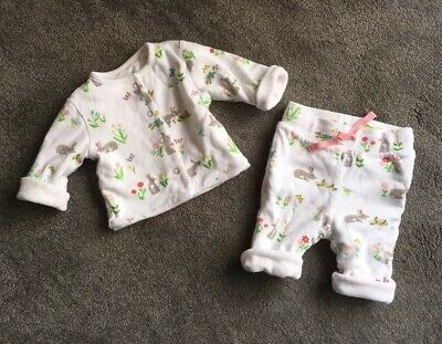 Mini Boden Newborn Baby Girls Trouser Jacket Set Rabbit Bunny Floral 0-3 m