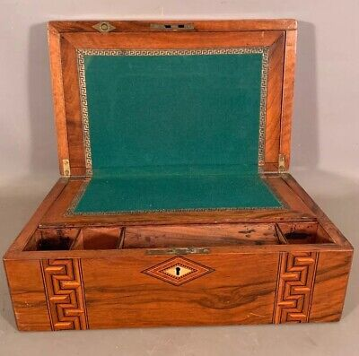 19thC Antique VICTORIAN Old MOP INLAY Lady WRITING Lap DESK Traveling SECRETARY